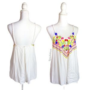 Debbie Dabble White Embroidered Boho Floral Romper
